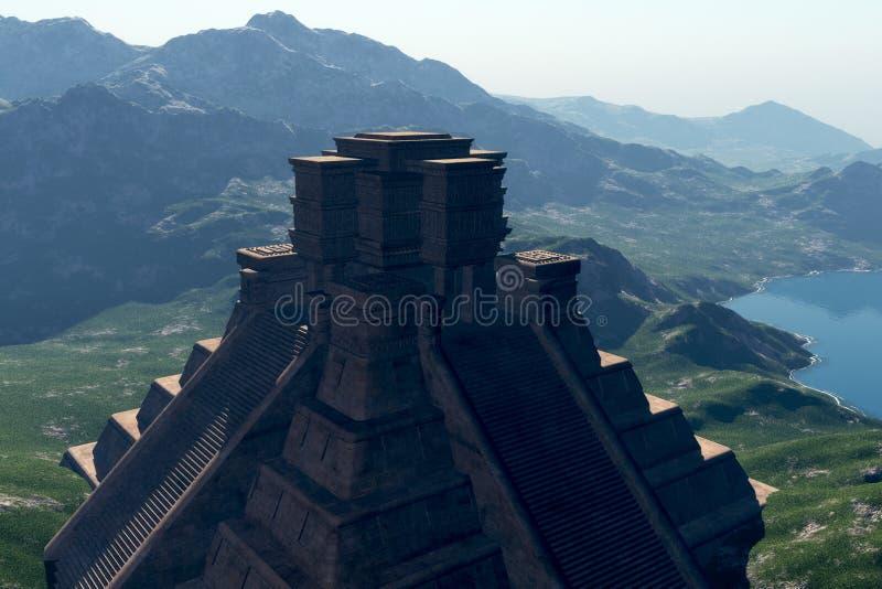 Mayan Backlit Tempel vector illustratie