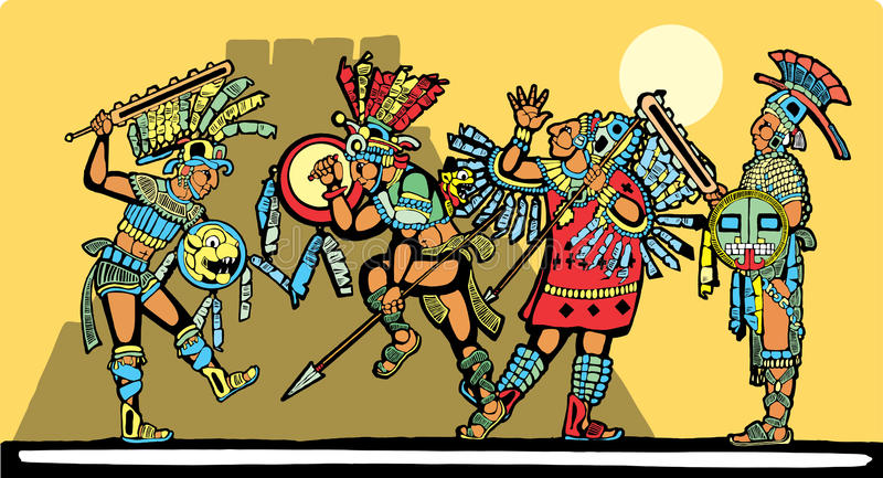 Download Mayan Battle stock vector. Image of color, aztec, mexico - 10102829