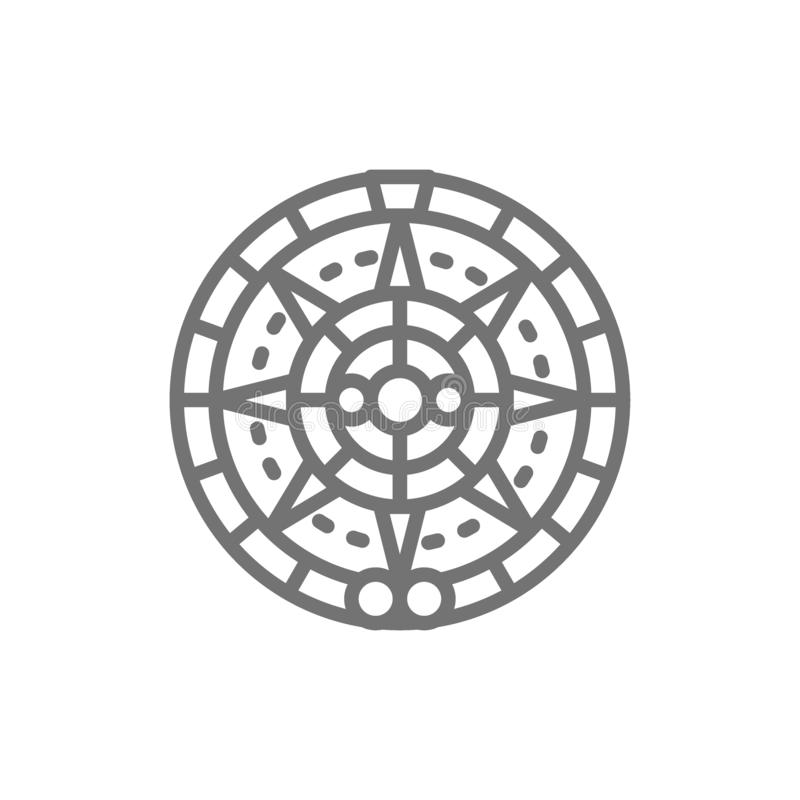 Mayan calendar, mexican ethnic ornament line icon. Vector Mayan calendar, mexican ethnic ornament line icon. Symbol and sign illustration design. Isolated on royalty free illustration