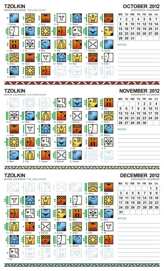 Download Mayan Calendar, October-December 2012 (European) Stock Vector - Image: 20005923