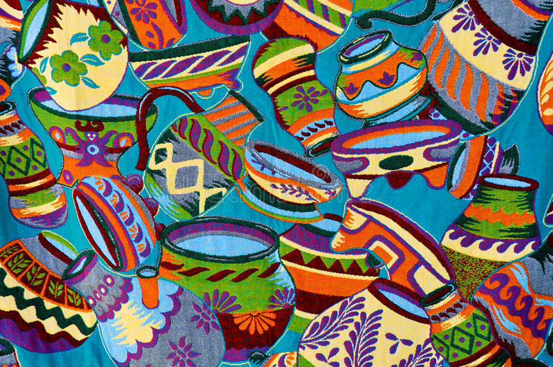 Mayan Colorful Vase Pattern. Mayan Colorful Vase and Bowl Pattern stock photo