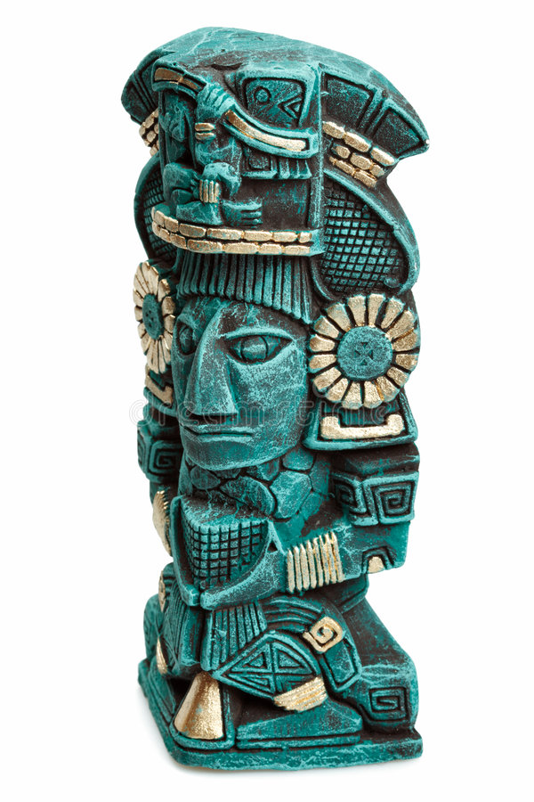 Mayan deity statue from Mexico isolated royalty free stock image