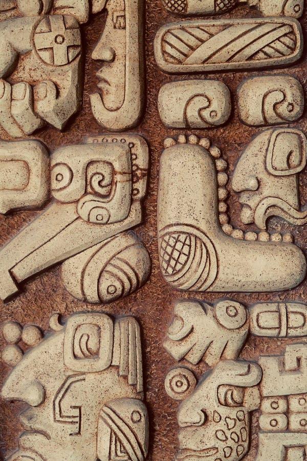 Mayan Detail van Hiërogliefen royalty-vrije stock afbeelding
