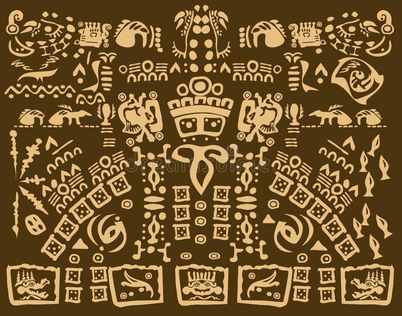 Mayan Drawing Of Ancient Symbols Stock Vector Illustration Of