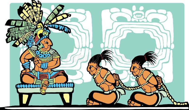 mayan fång för konung stock illustrationer