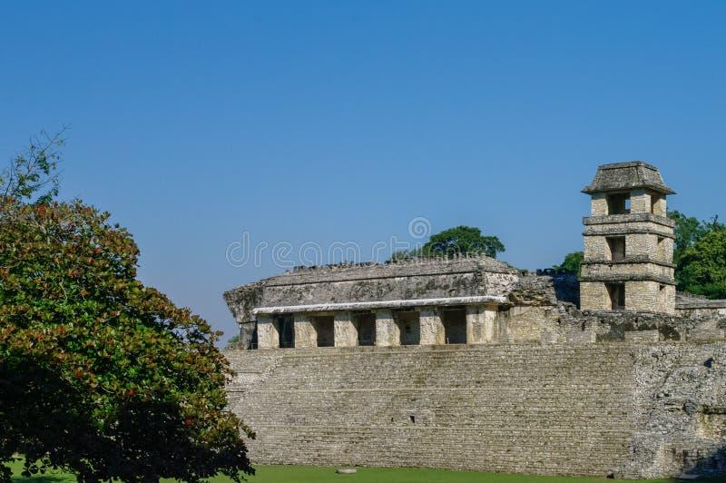Mayan fördärvar i Palenque, Chiapas, Mexico Slotten Observatio fotografering för bildbyråer