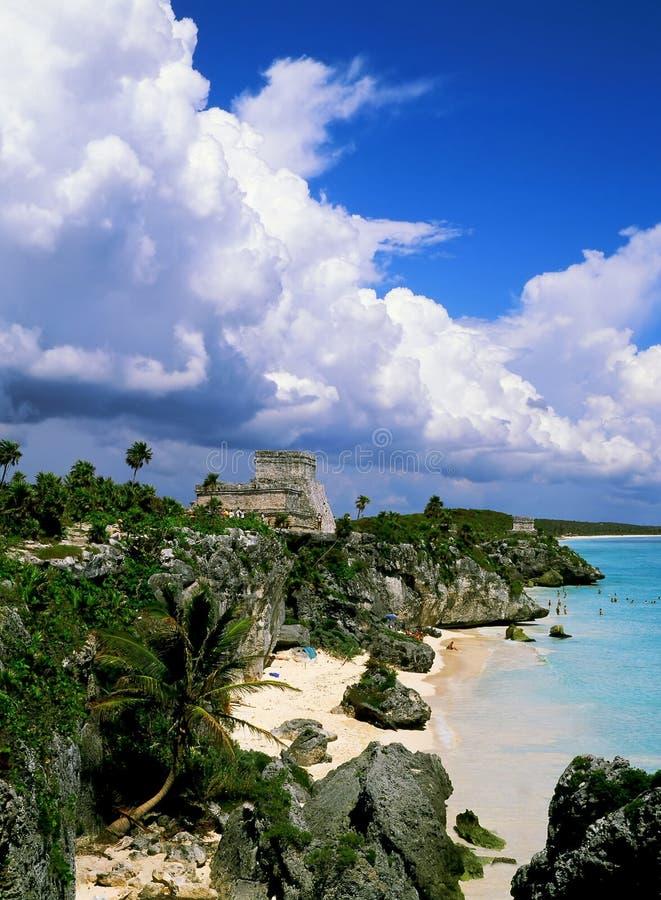 Mayan Fördärvar Tulum Arkivfoto