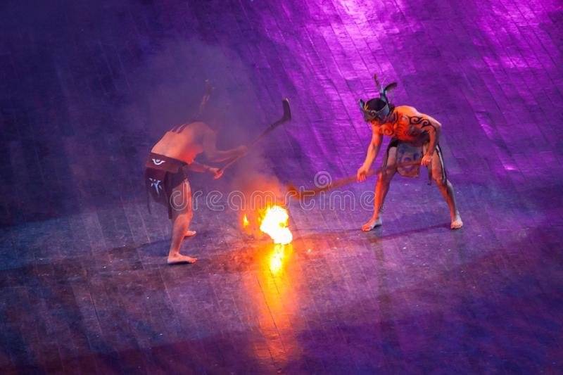 Mayan fire ball game performance in Xcaret park of Yucatan, Maxico stock photo