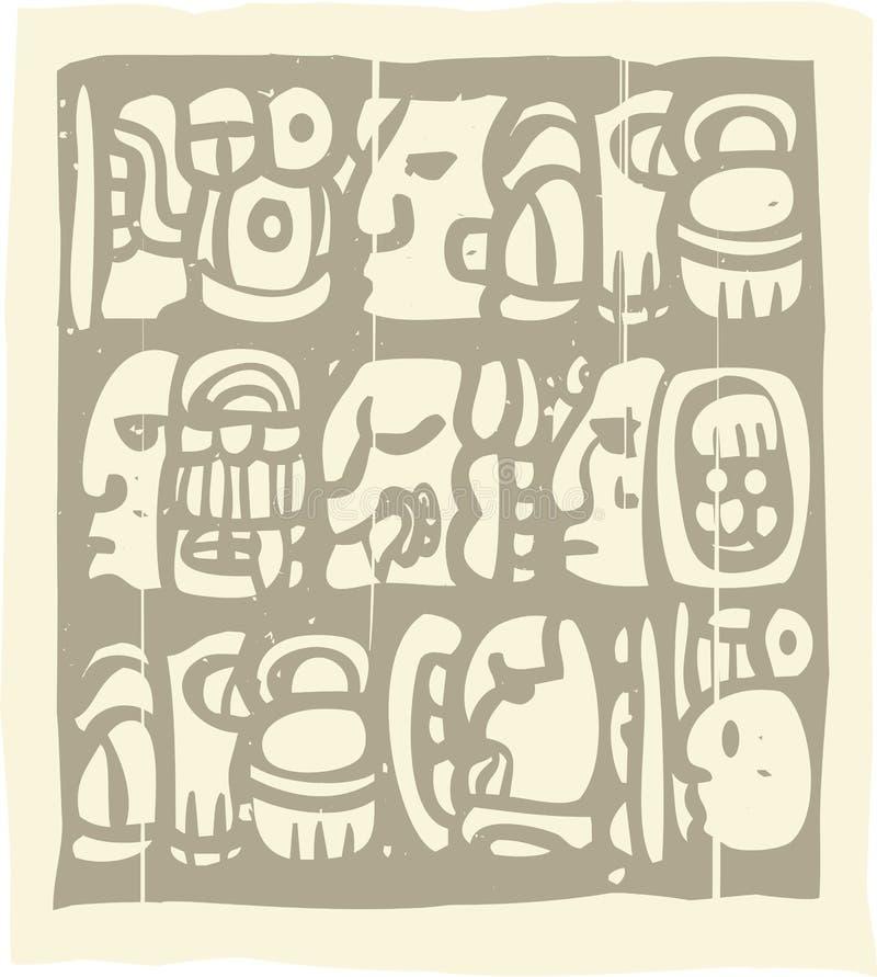 Mayan Glyphs Woodblock. Woodblock style Mayan language in writing glyphs royalty free illustration