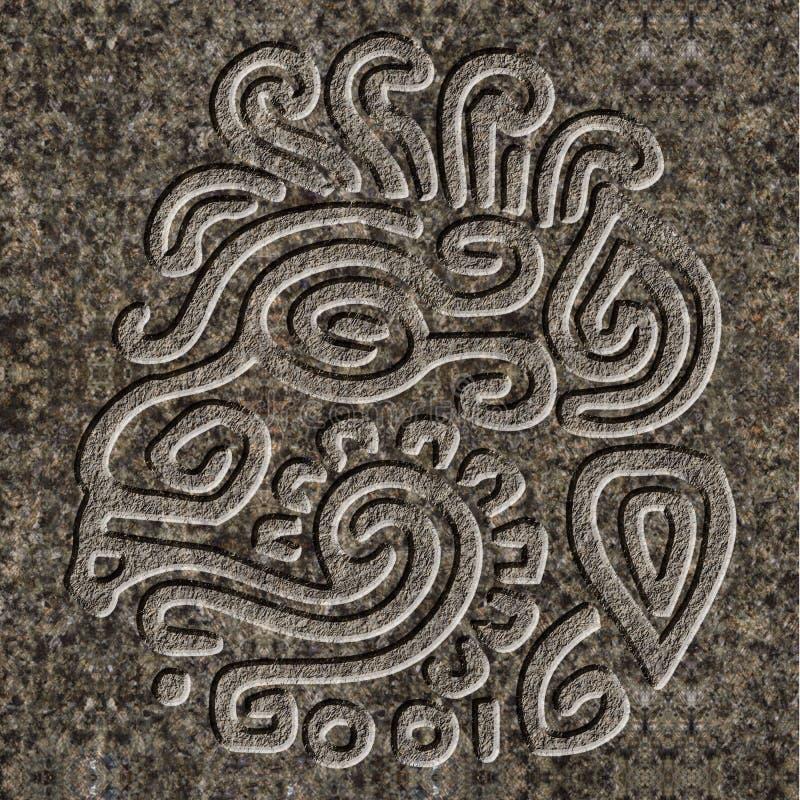 Mayan hulp in graniet wordt gebeiteld dat stock illustratie