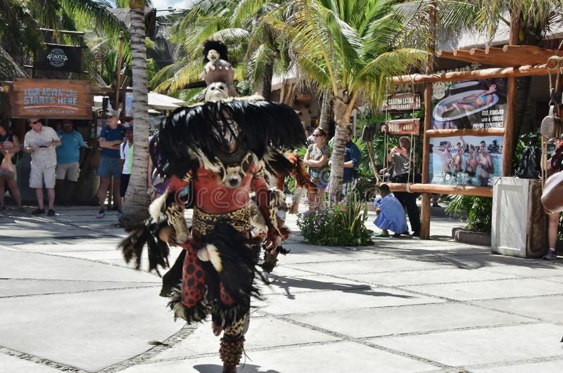 Mayan Indian Dancer In Costa Maya Mexico @ 2. Mayan Indian in Costa Maya Mexico Dancing for tourists in town center stock image