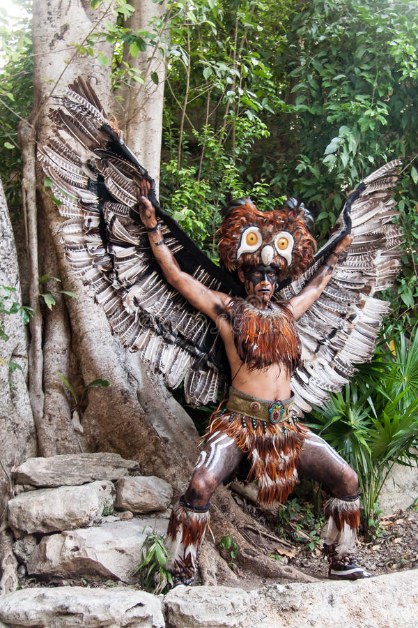 Mayan Indian Yucatan Peninsula Mexico. A Mayan Indian wearing an eagle costume in XCaret, Yucatan Peninsula, Mexico royalty free stock photos