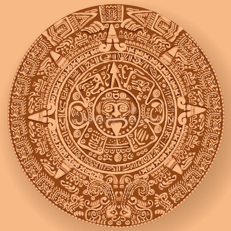 mayan kalender vektor illustrationer