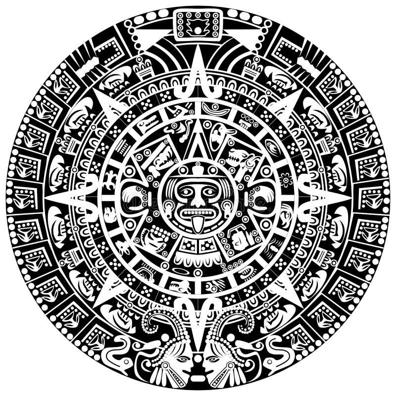 Mayan kalender vektor illustrationer