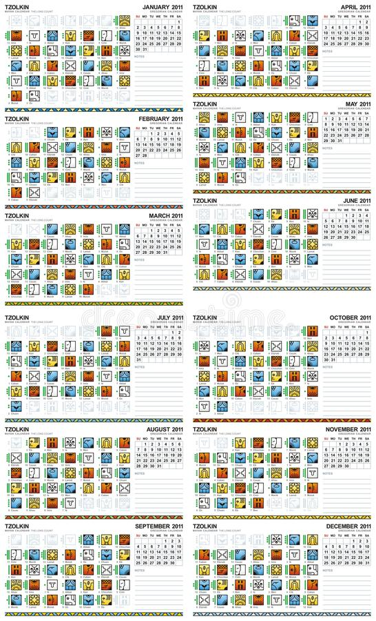 mayan kalender för 2011 american stock illustrationer