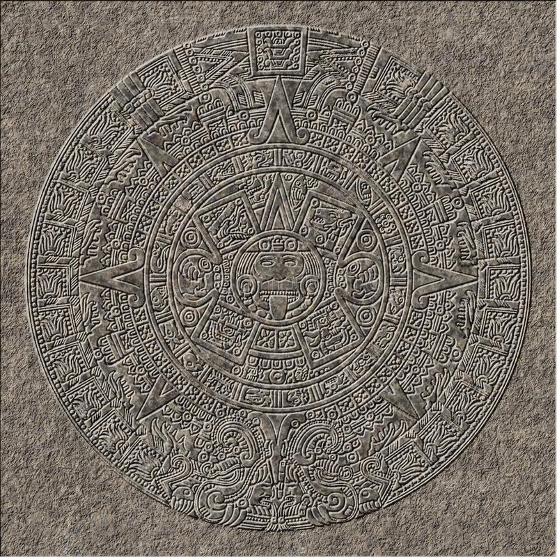 Mayan kalenderhulp in graniet wordt gebeiteld dat stock illustratie