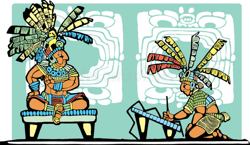 Mayan King and Scribe. Mayan King on throne being recorded by scribe vector illustration