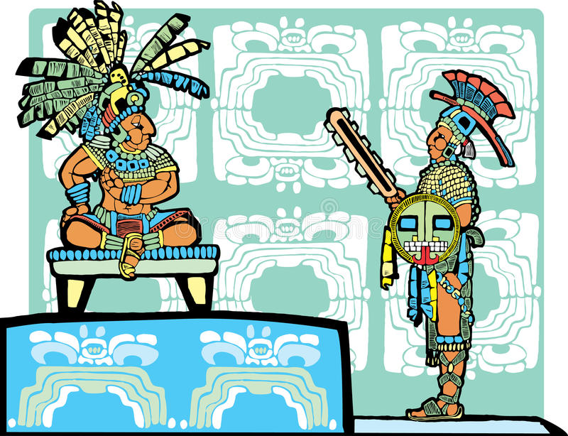 Download Mayan King and Warrior stock vector. Illustration of mesoamerican - 10102790