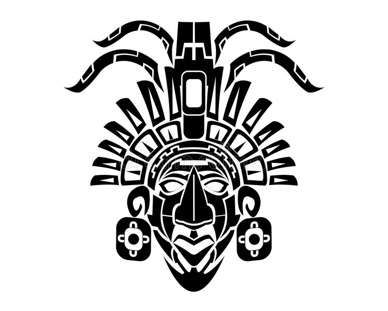 Mayan Mack Tribal Tattoo vektor illustrationer