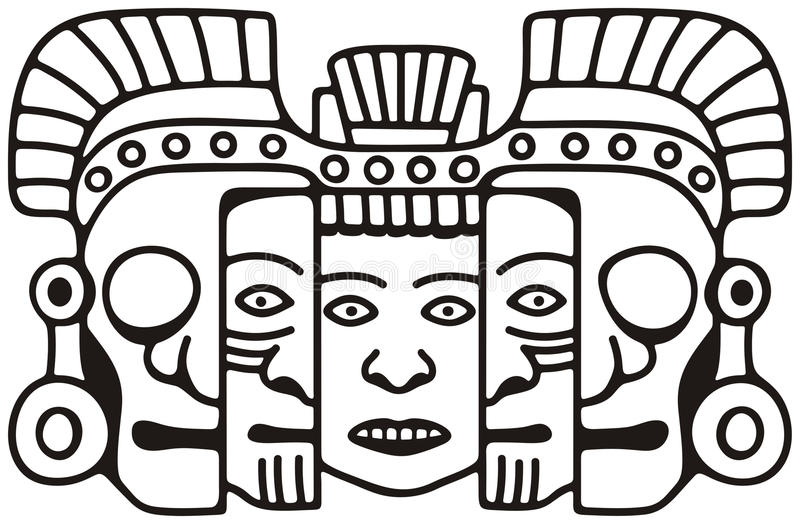 Mayan mask. Black and white drawing of a Mayan death & rebirth mask symbolizing endless human cycle of youth to old age and death stock illustration