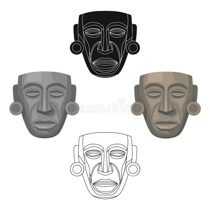 Mayan maskerpictogram in beeldverhaal, zwarte die stijl op witte achtergrond wordt geïsoleerd Van de het symboolvoorraad van het  vector illustratie