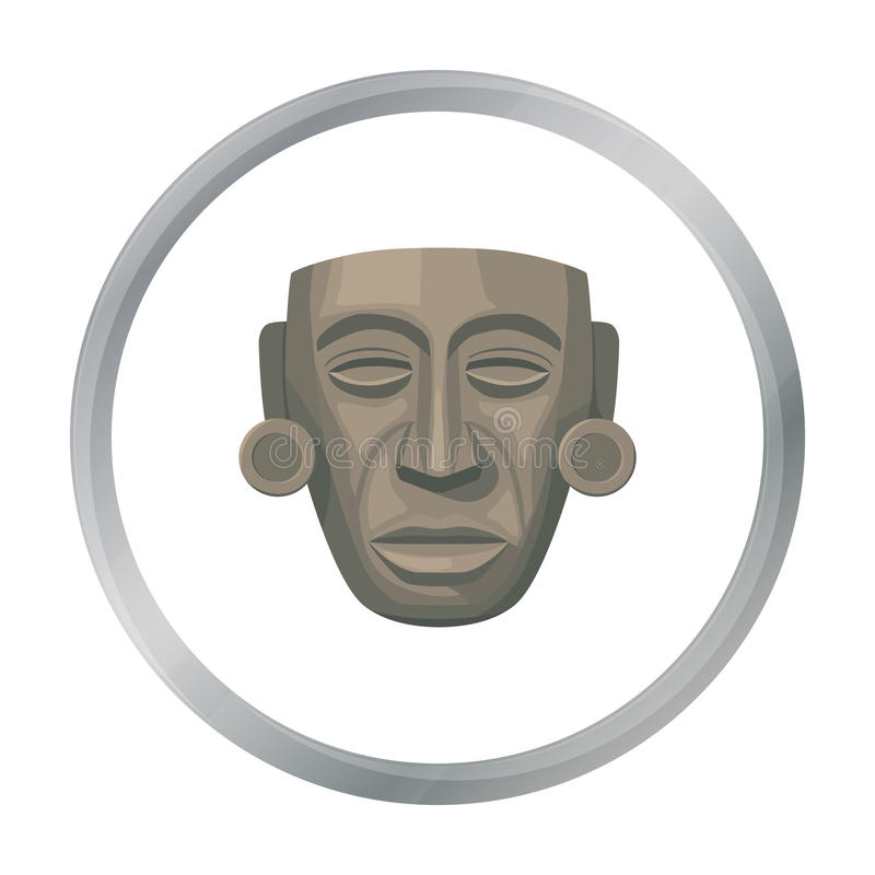 Mayan maskerpictogram in beeldverhaalstijl op witte achtergrond wordt geïsoleerd die Van de het symboolvoorraad van het land van  stock illustratie