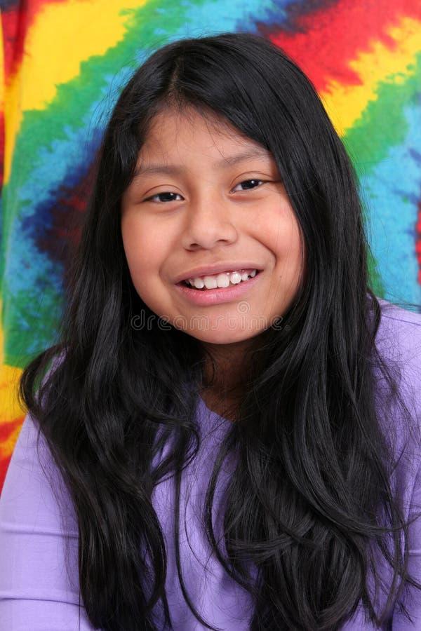Mayan meisje over kleuren royalty-vrije stock fotografie
