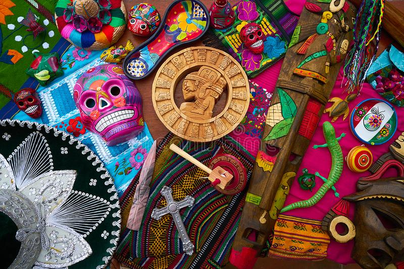 Mayan mexican handcrafts souvenirs mix royalty free stock photo