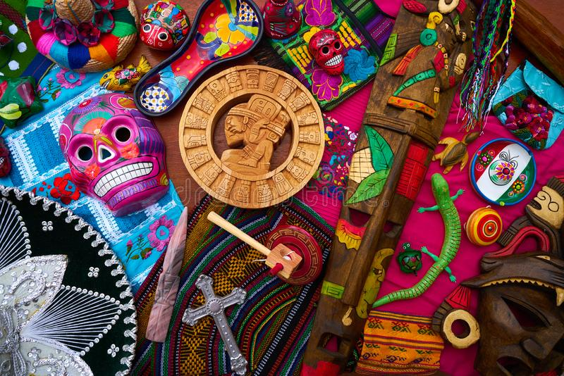 Mayan mexican handcrafts souvenirs mix royalty free stock photography
