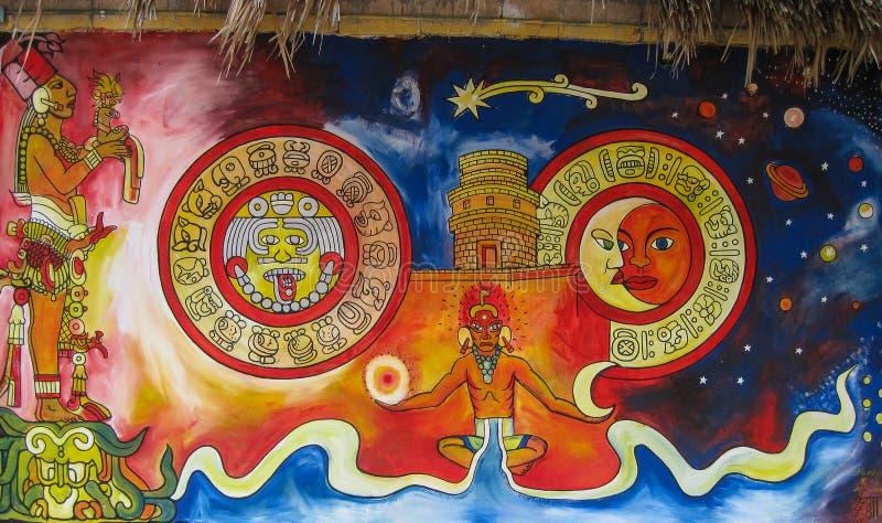 Mayan Muurschildering royalty-vrije stock foto's