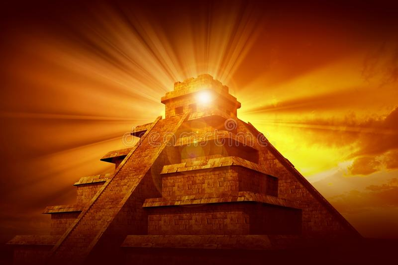Download Mayan Mystery Pyramid stock image. Image of glow, rays - 25160797