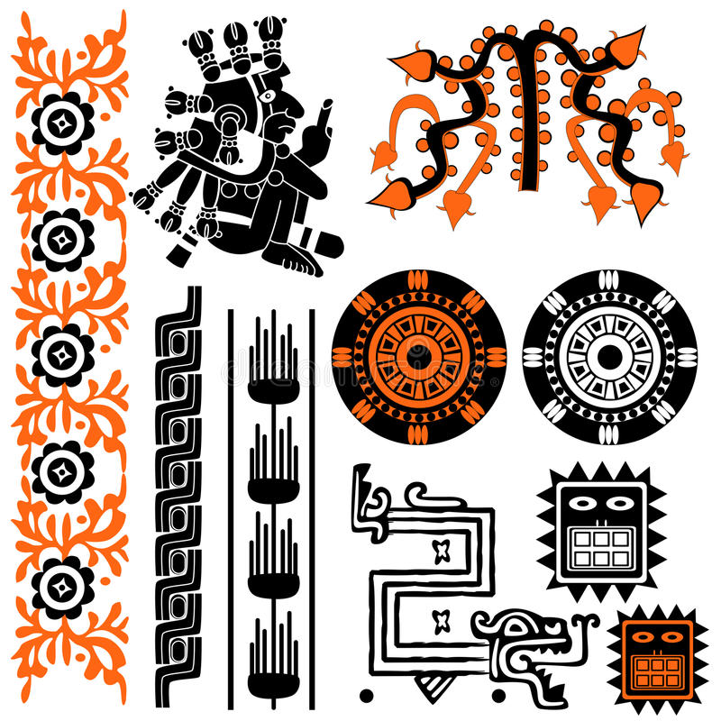 Mayan patterns stock illustration