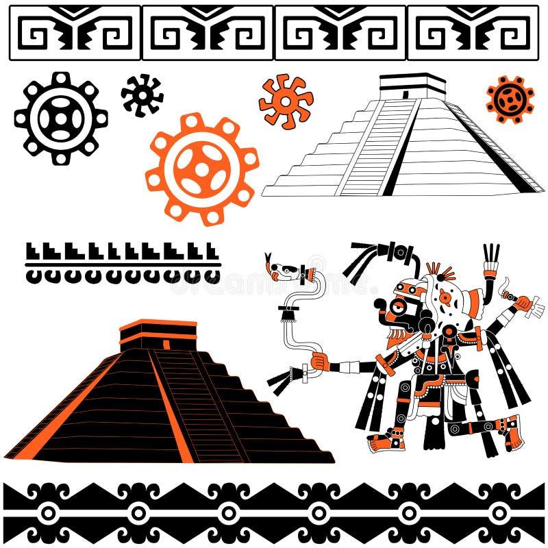 Mayan patterns on white vector illustration