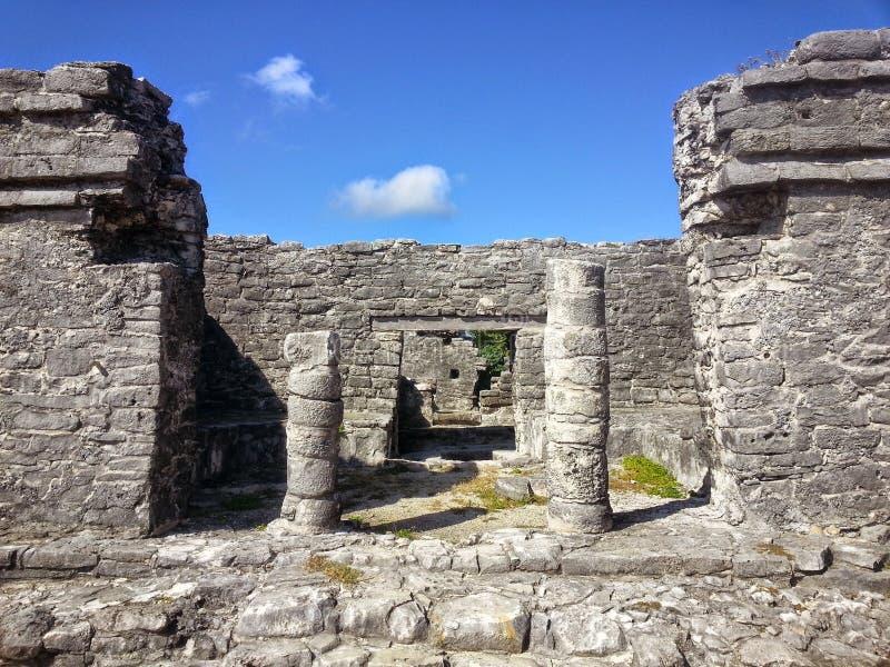 Mayan Pillars in the Ruins of Tulum royalty free stock photos