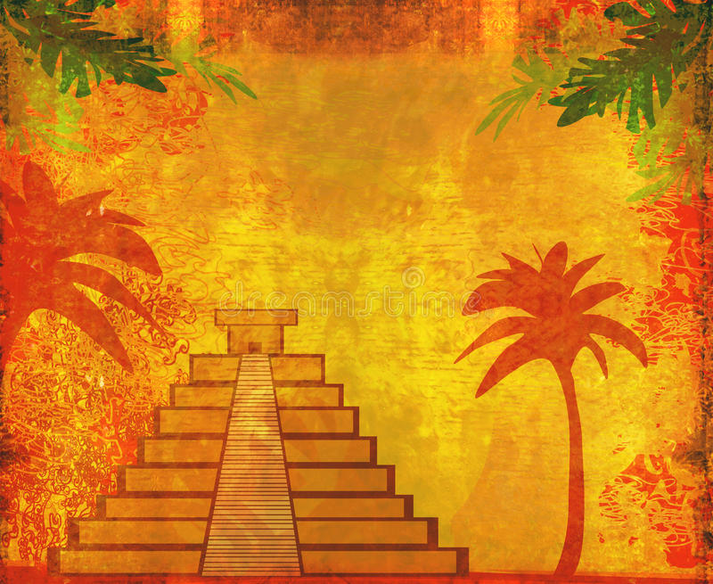 Mayan Piramide, chichen-Itza, Mexico royalty-vrije illustratie