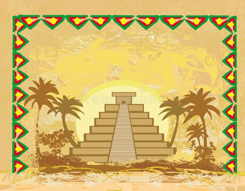 Mayan Piramide, chichen-Itza, Mexico - grunge abstracte achtergrond royalty-vrije illustratie