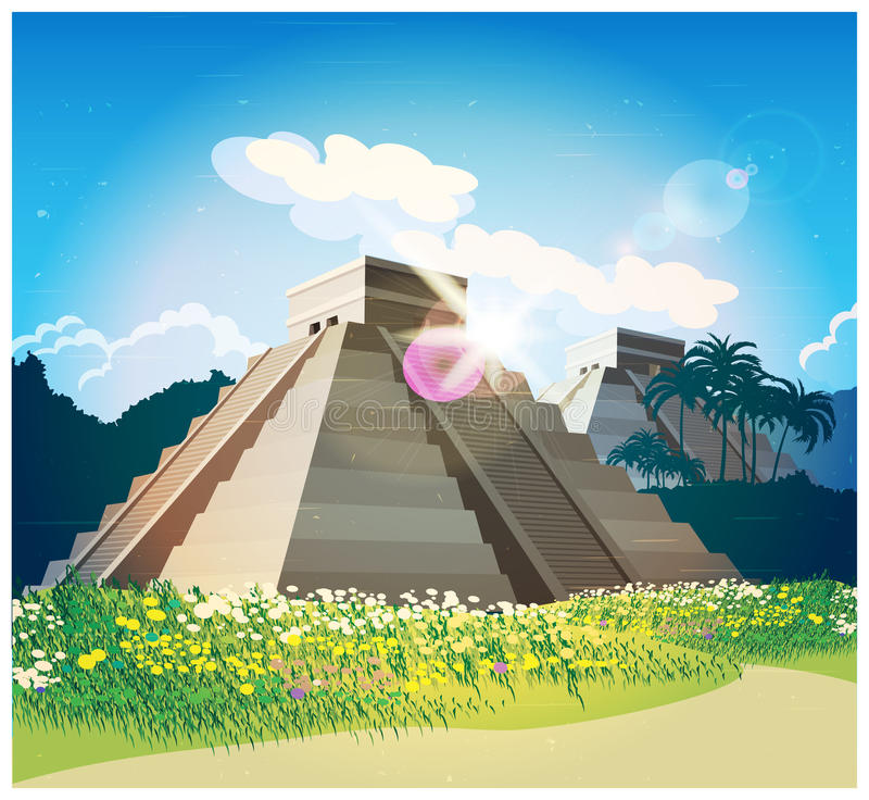 Mayan piramides vector illustratie