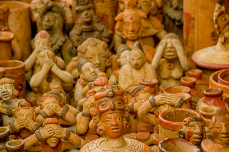 Mayan pottery figurines royalty free stock photography