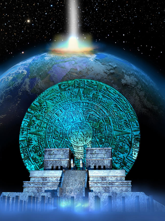 Mayan predictions. A mayan calendar and a temple at the foreground of the Earth being impacted by a meteor. The date 12/21/2012 was announced by the mayas as the
