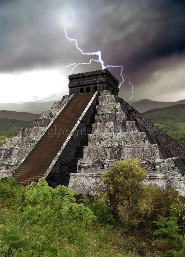 Mayan pyramid stock illustration