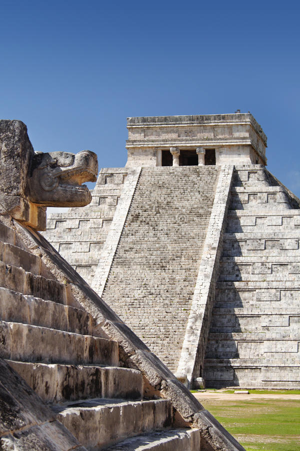 Mayan Pyramid at Chichen Itza, Mexico. Mayan Pyramid of Kukulcan, El Castillo, as seen from the Platform of the Jaguars and Eagles, Chichen Itza, Mexico royalty free stock photo