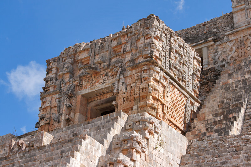 Mayan pyramid in Uxmal, Mexico stock image