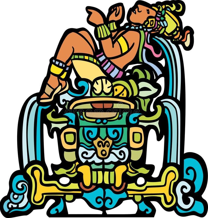 mayan reclining royaltyfri illustrationer