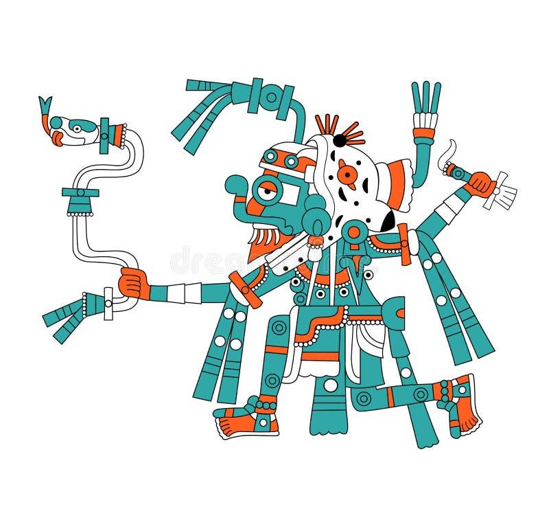 mayan regntlaloc för gud stock illustrationer