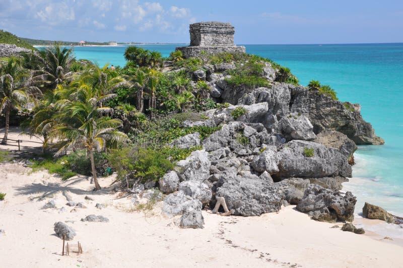 Mayan Ruïnes van Tulum stock foto's