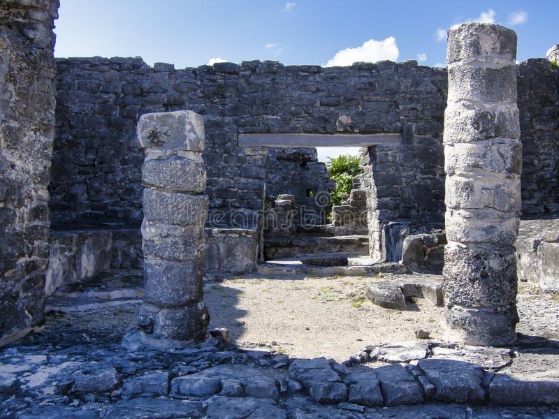 Mayan ruïnes van Tulum - Mexico stock fotografie