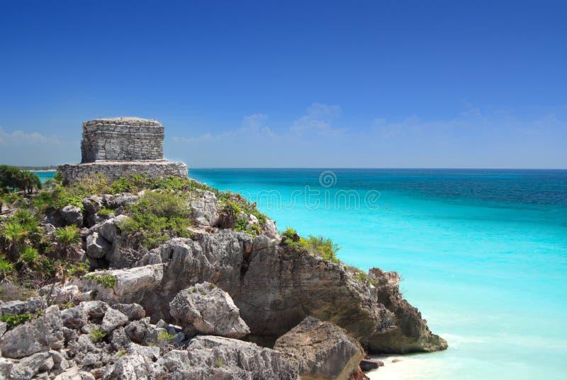 Mayan ruin at Tulum near Cancun, Mexico. Mayan ruin at Tulum near Cancun overlooking the Caribbean sea, Mayan Riviera, Mexico. Mayan pyramids and temples stock photos