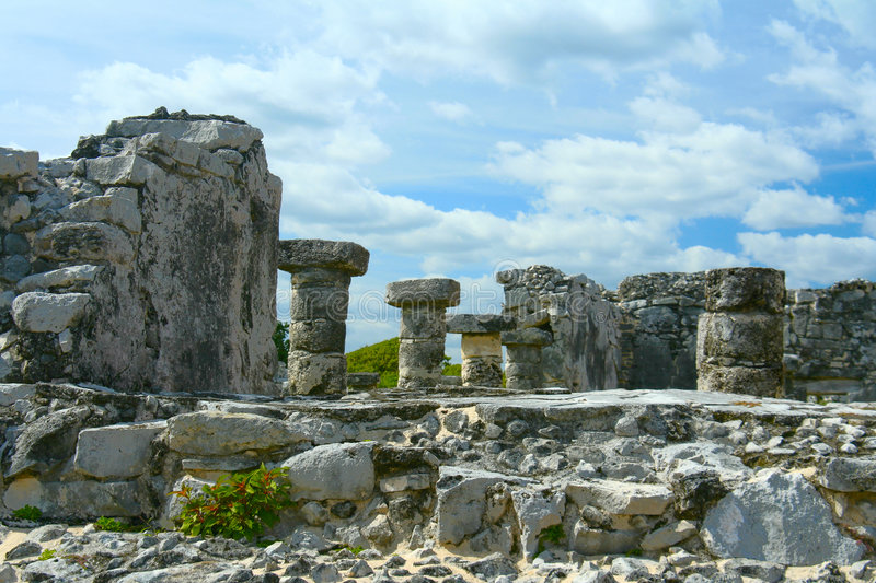 Mayan ruins. In Tulum, Mexico royalty free stock photography