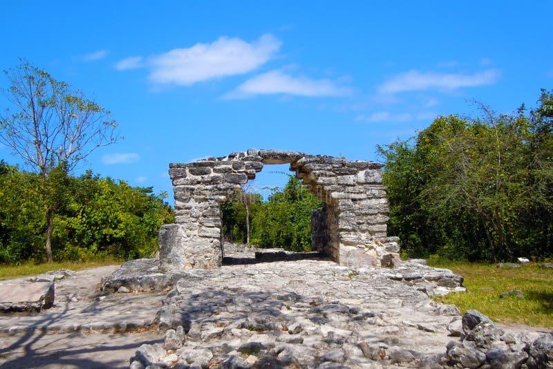 Mayan ruins of Cozumel. Mayan arch at San grevasio. Ruins of Cozumel stock photography