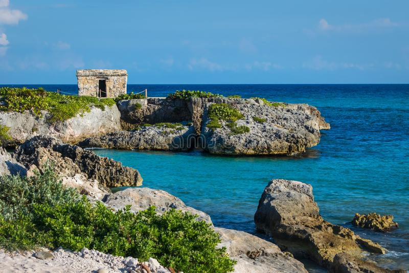 Mayan ruins at tropical coast. Landscape. Seaside. Quintana Roo, Mexico, Cancun, Riviera Maya stock photography